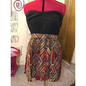 Strapless top, tribal printed skirt dress